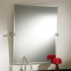 """32"""" Helsinki Rectangular Tilting Mirror - The 32"""" Helsinki Tilting Mirror has a frameless, rectangular glass with a beveled edge. Solid brass brackets on either side feature bold, modern shaping."""