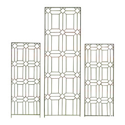 H Potter - Diamond Trellis - Set of Two, Small - Evoking the look of stained-glass window frames in a church, this trellis design features a beautiful pattern of diamonds and rectangles. Its thin appearance allows you to notice it, without becoming overwhelming to your space.