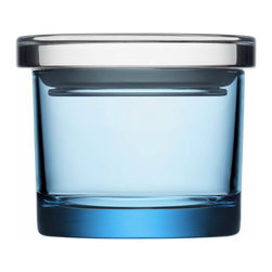 "Iittala - Glass Jars 3.6"" x 3"", Light Blue - Get clear on kitchen storage. These little glass jars have a tight-fitting lid to keep things like herbs and spices fresh. Keep your kitchen pantry, home office and bathroom organized. Who knew it would take a little glass jar to see you through!"