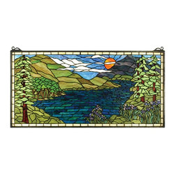 Meyda Tiffany - Sunset Meadow Window Panel - Made from stained glass. 40 in. W x 20 in. H. Care InstructionsInstantly transport yourself from your home to the heart of the adirondacks when viewing this stained glass window from Meyda tiffany. This tranquil lakeside summer scene with iris in bloom is a nancy parker original design handcrafted using tiffany's time-honored copperfoil construction technique.