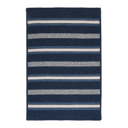 Colonial Mills, Inc. - Salisbury, Navy Rug, 5'X8' - Striking stripes, bold blue hues and a soft-textured wool blend add up to total style. Toss this area rug anywhere to instantly amp up the cozy quotient.