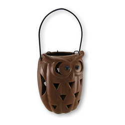 Zeckos - Ceramic Owl Cut-Out Design Candle Lantern Toasted Brown - This adorable ceramic owl candle lantern will lend you a bit of its ability to see even in the darkest of nights. From the charming eyes to the cut-out design feathers, it will light up a dark space with a fun flickering light show of a tea light or votive style candle. This cheery lantern has been finished in an inviting toasted brown crackle style finish for that appealing weathered effect and stands 7 inches high, 11 inches high with the handle extended, and 5 inches in diameter. It has a removable insert that holds a tea light or votive style candle. It is perfect for highlighting an urban garden, bringing unique lighting to your porch or entryway, or as an attractive centerpiece on your holiday table.