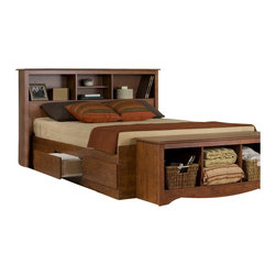 Prepac - Prepac Monterey Cherry Queen Bookcase Platform Storage Bed - Prepac - Beds - CBQ6200KIT - The Monterey Bookcase Platform Storage Bed has composite wood construction in an elegant cherry finish. It features a total of six drawers for ample storage and a bookcase headboard to store all your bedtime necessities within arms reach. With shaker design elements the Monterey Bookcase Platform Storage Bed is the perfect central fixture in your bedroom.