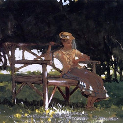 "Winslow Homer Woman on a Bench (Girl on a Garden Seat)  Print - 18"" x 24"" Winslow Homer Woman on a Bench (also known as Girl on a Garden Seat) premium archival print reproduced to meet museum quality standards. Our museum quality archival prints are produced using high-precision print technology for a more accurate reproduction printed on high quality, heavyweight matte presentation paper with fade-resistant, archival inks. Our progressive business model allows us to offer works of art to you at the best wholesale pricing, significantly less than art gallery prices, affordable to all. This line of artwork is produced with extra white border space (if you choose to have it framed, for your framer to work with to frame properly or utilize a larger mat and/or frame).  We present a comprehensive collection of exceptional art reproductions byWinslow Homer."