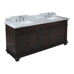Kitchen Bath Collection - Elizabeth 72-in Bath Vanity (Carrara/Chocolate) - This bathroom vanity set by Kitchen Bath Collection includes a chocolate cabinet with soft-close drawers and self-closing door hinges, Italian Carrara marble countertop with stunning beveled edges (an incredible 1.5 inches thick at the edge!), undermount ceramic sinks,pop-up drains, and P-traps. Order now and we will include the pictured three-hole faucet and a matching backsplash as a free gift! All vanities come fully assembled by the manufacturer, with countertop & sink pre-installed.