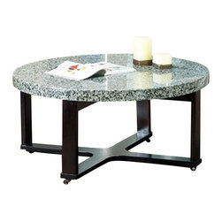 Steve Silver Furniture - Steve Silver Gabriel Round Marble Top Cocktail Table with Black Base - Low and large, this round marble veneer top s a multi-step dark wood base.