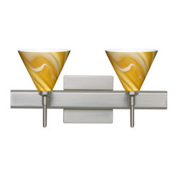 Besa Lighting - Besa Lighting 2SW-5121HN-SQ Kani 2 Light Reversible Halogen Bathroom Vanity Ligh - The Kani pendant features a compact cone-shaped glass, that will gracefully blend into almost any decorating theme. This unique decor is handcrafted, with layered swirls of yellow-amber and golden-brown against white, finished to a high gloss. It's classic swirl pattern and high gloss surface has a truly florid gleam. Honey is a hand-blown glass designed to have a shiny and polished finish. The glass is gathered and rolled into shape a unique pattern is formed that cannot be replicated. This blown glass is handcrafted by a skilled artisan, utilizing century-old techniques passed down from generation to generation. Each piece of this decor has its own unique artistic nature that can be individually appreciated. The vanity fixture is equipped with decorative lamp holders, removable finials, linear rectangular housing, and a removable low profile oval canopy cover.Features: