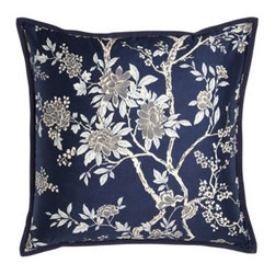"""Ralph Lauren - Ralph Lauren Floral Pillow, 20""""Sq. - In a coastal palette of navy and white with bursts of gold, Deauville is a bedding ensemble that's both formal and sporty. From Ralph Lauren's Signature Classics collection. Masculine shirting stripes on the sheets are boldly juxtaposed with a femini..."""