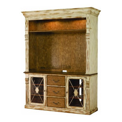 Hooker Furniture - Entertainment Console Hutch, Dune and Beach - Are you entertaining thoughts of a modern media center that looks like it belongs in your traditional room? This cabinet looks like a cherished antique, with a combination of whitewashed and distressed wood of darker tones. There's plenty of room for your TV and other media components.