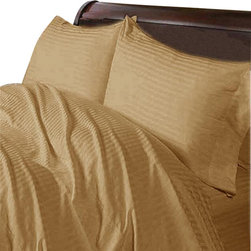 SCALA - 600TC 100% Egyptian Cotton Stripe Taupe Olympic Queen Size Fitted Sheet - Redefine your everyday elegance with these luxuriously super soft Fitted Sheet. This is 100% Egyptian Cotton Superior quality Fitted Sheet that are truly worthy of a classy and elegant look.