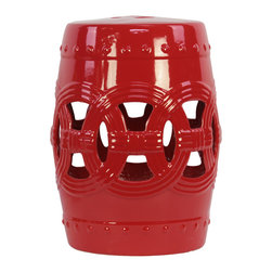 Urban Trends Collection - Ceramic Red Decorative Red Garden Stool - This decorative garden stool will give your yard that urban vibe that can be so hard to cultivate. A deep red coloration and intricate designs on the outer wall make this particular stool a crucial item for any yard's decor.
