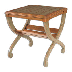 Uttermost - Ronica Solid Wood Accent Table - This charming cross-legged table features stealth storage underneath for magazines, a blanket or whatever suits you. It's crafted of mango wood, honey stained and expertly distressed to make a casually chic statement in your decor.