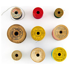 Vintage thread spools 8 x 8 fine art photograph by QuercusDesign