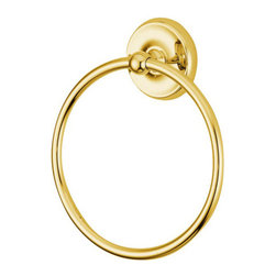 "Kingston Brass - 6"" Towel Ring - Kingston Brass' bathroom accessories are built for long-lasting durability and reliability. They are designed so you can easily coordinate matching pieces. Each piece is part of a collection that includes everything you need to complete your bathroom decor. All mounting hardware is included and installation is easy.; 2-3/4"" diameter bases; 6"" towel ring; Premium finish; Easy installation; All mounting hardware included; Material: Brass; Finish: Polished Brass; Collection: Classic"