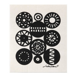 "Klippan - Black Retro Swedish Dishcloth - Geometric patterns and 60´s influences are some of the ingredients in this graphic trend. Bengt & Lotta´s ""Retro"" pattern is a clear example of this.  It is sophisticated and stylish, yet expressive."