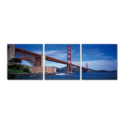 The Golden Gate 3 Piece Photo, 28x84 - ArtCorner offers affordable three-panel wall art for any type of interior wall space. We design each of our wall pieces by mounting beautiful hi-resolution images to high-quality, solid-wood panels. Our decorative wall-art sets are available in three different sizes and can be hung in commercial and office spaces as well as any area of the home. Panels are designed for durability and moisture resistance. Any piece can hang in bathrooms and kitchens without being damaged by heat and moisture.