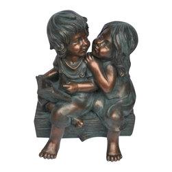 """Garden Statuary - 12"""" Two Garden Kids."""