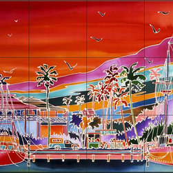 The Tile Mural Store (USA) - Tile Mural - Fisherman'S Village - Rm - Kitchen Backsplash Ideas - This beautiful artwork by Ron Mondz has been digitally reproduced for tiles and depicts a colorful tropical scene  Waterview tile murals are great as part of your kitchen backsplash tile project or your tub and shower surround bathroom tile project. Water view images on tiles such as tiles with beach scenes and Mediterranean scenes on tiles Tuscan tile scenes add a unique element to your tiling project and are a great kitchen backsplash idea. Use one or two of our landscape tile murals for a wall tile project in any room in your home for your wall tile project.