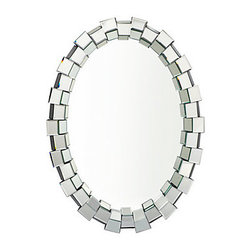 Z Gallerie - Royce Mirror - Create a sensation with our spectacular Royce mirror as a focal point in a room. This glamorous oval mirror, mounted on a sturdy wooden backing, is surrounded by a frame of mirrored cubes tilted at different angles, netting a dazzling display of sparkle and light.