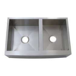 Kingston Brass - Gourmetier Double Bowl Farm house Kitchen Sink Satin Nickel KUF3321108DBN - All Kingston Brass stainless steel sinks offer sophisticated design with superior quality, fully protected by heavy duty sound deadening pad to prevent condensation sound. Dozen unique sinks for you to choose from when defining the perfect look for your kitchen.. Manufacturer: Kingston Brass. Model: KUF3321108DBN. UPC: 663370092220. Product Name: Gourmetier KUF3321108DBN Denver Stainless Steel Double Bowl Farm house Kitchen Sink, Satin Nickel. Collection / Series: Denver. Finish: Stainless Steel. Theme: Classic. Material: Stainless Steel. Type: Kitchen Sinks. Features: Fabricated from 304 grade stainless steel, resists from chips and scratches