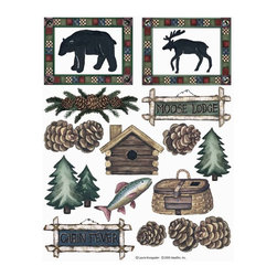 IdeaStix - Moose Lodge&Cabin Fever 2-Sheet IdeaStix Accents Peel and Stick - IdeaStix Accents transform ordinary tiles, mugs, containers and such into beautiful art decorations.  Made from proprietary rubber-resin, Premium Peel and Stick Decor Accent 32 pieces are made in the shape of the design motif and come on 2 sheets (7.5 x 10.5 inches) and offer Quick and Easy solution for accentuating so many things.  With features like microwave safe, water/heat/steam-resistant, nontoxic, washable, removable and reusable, they are ideal for kitchen backsplash and bath/shower tile cecoration and also are great as labels for smooth and non-porous surfaces of plastic and glass containers, canisters, mugs, etc.  You can write on them with permanent markers.  IdeaStix Accents are probably the only products that have all these unique and wonderful features.