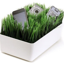 "Grassy Lawn Charging Station - Houzz friend and author of the design blog  chictip Keren says ""The Grassy Lawn Charging Station is artificial grass to cushion your gadgets while they charge. Allow your cameras, phones, MP3 players, etc. to relax while they rejuvenate!"""