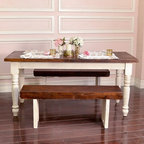 Bella French Farmhouse Petite Table in Antique White 68 inches - Bring rustic farmhouse beauty to your home with this exclusive Bella French Farmhouse Petite Table. Features distressed legs in antique white and a gorgeous dark brown top. All wooden parts of this table is made from reclaimed wood!