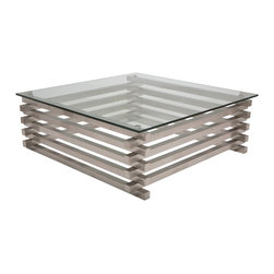 "Nuevo Living - Stacked Coffee Table in Stainless Steel by Nuevo - HGTA902 - The Stacked Coffee Table by Nuevo combines brushed stainless steel and tempered glass to create a beautiful occasional table for your home or office.  At 42"" square the Stacked Modern Coffee Table fits nicely into most rooms.  The stainless steel base is a series of stacked 1.5"" thick stainless bars configured in an interlocking pattern to create a nice contemporary piece of modern furniture.  1/2"" tempered glass tops it all off."