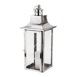 Alliyah Rugs - Empire Steel Lantern Small - These strong contemporary-style lanterns will create a stunning display. They are made in polished stainless steel, which means they are suitable for use inside or out.