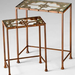Metal Nesting Tables - These metal nesting tables are great for a small space. The glass top is