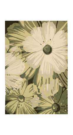 "Nourison - Country & Floral Fantasy 2'6""x4' Rectangle Herb Area Rug - The Fantasy area rug Collection offers an affordable assortment of Country & Floral stylings. Fantasy features a blend of natural Herb color. Handmade of 70% Pet   30% Acrylic the Fantasy Collection is an intriguing compliment to any decor."