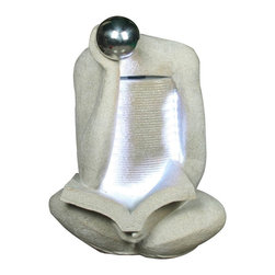 Yosemite Home Decor - Yosemite Home Decor Single Headed Rock Contemporary Indoor / Outdoor Fountain - This Yosemite Home Decor indoor/outdoor fountain is an excellent choice for those who appreciate modern art. The single headed design of this contemporary fountain is positioned downward, taking in the LED-lit book. Polyresin construction and a blend of finishes complete the design.