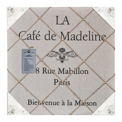 "Enchante Accessories Inc - ""Cafe de Madeline"" Distressed Wood & Fabric Wall Memo Bulletin Board (Grey) - Antique Wooden Finish gives this Pin board a old world French country feel. Decorated in traditional French iconic images are printed on the fabric, this message holder immediately gives your room French country character."