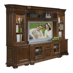 Riverside Furniture - Cantata Entertainment Center in Burnished Cherry - Includes TV console, bridge, back panel, shelf, left and right pier base, left and right pier deck