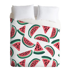 DENY Designs - Zoe Wodarz Watermelon Wander Duvet Cover - Turn your basic, boring down comforter into the super stylish focal point of your bedroom. Our Luxe Duvet is made from a heavy-weight luxurious woven polyester with a 50% cotton/50% polyester cream bottom. It also includes a hidden zipper with interior corner ties to secure your comforter. It''_s comfy, fade-resistant, and custom printed for each and every customer.