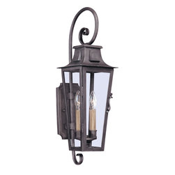 Troy Lighting - Troy Lighting French Quarter Transitional Outdoor Wall Sconce X-2692B - An aged pewter finish, clear glass and hand-forged iron construction give the Troy Lighting French Quarter Transitional Outdoor Wall Sconce plenty of traditional style one would expect from the French Quarter in New Orleans. The single light outdoor wall light features a candlestick fixture houses in a transitional style lantern.