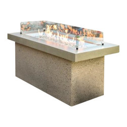 The Outdoor Greatroom - Key Largo Fire Pit With Brown Stone Supercast Top And Serengeti Base - A showcase of fire, the Key Largo fire pit features a beautiful, glowing fire that dances atop a bed of fire glass. This simple, modern design will look great in any outdoor rated living space! The focal point of the design is a striking 42x12 inch stainless steel Crystal Fire Burner. The truly magnificent fire will light up the night and add warmth to your life. These burners are made from high quality stainless steel and include tempered, tumbled fire glass, an LP regulator and hose, a metal flex hose, a gas valve, and a push button sparker. With just a push of a button, a beautiful clean-burning fire appears atop a bed of highly reflective Diamond glass fire gems. All burners are shipped with orifices for LP or NG fuels and are UL approved for safety and quality. Adjust the flame height to your desired setting and enjoy the magic and ambience of a warm glowing fire