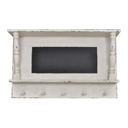 Enchante Accessories Inc - Wood Chalkboard Entryway Message Board with Hooks  Distressed White - Wood chalkboard message board with spindle columns