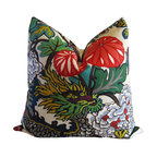 Schumacher - Chiang Mai Dragon 20 inch Decorative Pillow Cover With Cherry Blossoms - One of Schumacher's best-loved designs, Chiang Mai Dragon was originally derived from an exuberant 1920's Art Deco era block print. The pattern is table printed on a linen ground.