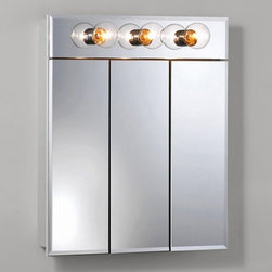 Lighthouse Distribution Corp - Broan-Nutone Ashland Tri-View 24W x 28H in. 3-Light Surface Mount Medicine Cabin - Shop for Bathroom Cabinets from Hayneedle.com! The Broan-Nutone Ashland Tri-View 3-Light Surface Mount Medicine Cabinet - 24W x 28H in. is all that. Durably constructed with quality laminate to withstand time in the bathroom with dowel and glue construction for maximum durability you essentially have nothing to worry about with this medicine cabinet. The mirrors all feature a .5-inch bevel around the edges. Cabinet comes fully assembled with mounting bars and hardware. Installs quickly for your convenience. About Broan-NuToneBroan-NuTone has been leading the industry since 1932 in producing innovative ventilation products and built-in convenience products all backed by superior customer service. Today they're headquartered in Hartford Wisconsin employing more than 3200 people in eight countries. They've become North America's largest producer of medicine cabinets ironing centers door chimes and they're the industry leader for range hoods bath and ventilation fans and heater/fan/light combination units. They are proud that more than 80 percent of their products sold in the United States are designed and manufactured in the U.S. with U.S. and imported parts. Broan-NuTone is dedicated to providing revolutionary products to improve the indoor environment of your home in ways that also help preserve the outdoor environment.