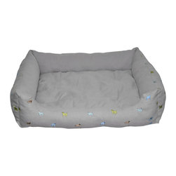 Loom and Mill - Loom and Mill DB0004 Gray Dog Walled Pet Bed - This medium sized dog bed is detailed with embroidered dogs and is constructed with the highest attention to detail and quality. It has a pillow insert that is removable for easy cleaning this pet bed. Spot clean only.