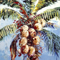 "Colorful Coconuts 9x12 Print - ""Colorful Coconuts"" is a tropical canvas giclee by Joseph LaPierre. We present this to you in a 1/2"" blonde frame that slightly overlaps the face of your picture. This makes for an overall framed size of 13x16."
