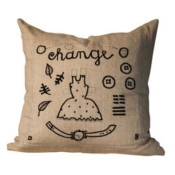 "BoBo's Intriguing Objects - Change Pillow Cover - This creative handmade pillow cover illustrates the theme of ""change"" with an embroidered collage of images representing time, changeable fashions and the passing of seasons. True to its theme, the cover is changeable according to season or your mood, though the natural linen background and black embroidery will match pretty much everything."