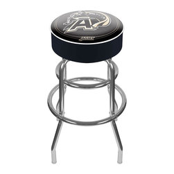 Trademark Global - Bar Stool w Padded Seat & Army-U.S. Military - With its durable commercial-grade vinyl cover, this sensational retro style barstool is built to last. The heavy-duty metal leg base features double circular rungs for added stability.  True fans will immediately recognize the distinctive Army team colors on the thickly cushioned round seat.  Emblazoned with the NCAA official Black Knights logo, it even has a smart contrasting piping.  This stool is the ideal height for bars and pub height tables of any style. Adjustable levelers. Long lasting officially licensed college logo. Great for gifts and recreation decor. 7.50 in. High padded seat. 30 in. High bar stool great for bar pub table and bars. Commercial grade vinyl seat. Chrome plated double rung base. 14.75 in. W x 14.75 in. D x 30 in. H (17 lbs.)This officially licensed NCAA bar stool will be the highlight of your bar and game room.