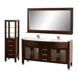 """Wyndham Collection(R) - Daytona 63"""" Double Bathroom Vanity Set by Wyndham Collection - Espresso w/ Drawe - The Daytona 63"""" Double Bathroom Vanity Set - a modern classic with elegant, contemporary lines. This beautiful centerpiece, made in solid, eco-friendly zero emissions wood, comes complete with mirror and choice of counter for any decor. From fully extending drawer glides and soft-close doors to the 3/4"""" glass, marble, or man-made stone counter, quality comes first, like all Wyndham Collection products. Doors are made with fully framed glass inserts, and back paneling is standard. Available in gorgeous contemporary Cherry or rich, warm Espresso (a true Espresso that's not almost black to cover inferior wood imperfections). Transform your bathroom into a talking point with this Wyndham Collection original design, only available in limited numbers. All counters are pre-drilled for single-hole faucets, but stone counters may have additional holes drilled on-site.Available in additional sizes, finishes and counter options. Features Constructed of solid, environmentally friendly, zero emissions wood, engineered to prevent warping and last a lifetime Includes single-hole or widespread 3-hole faucet mount Includes drain assembly and P-trap Includes mirror and side cabinet (WC-K-W045-ESP) Please note that backsplashes MUST be ordered at the same time as the vanity and counter. They cannot be shipped as separate items. Minor shade variations are possible between countertop and backsplash. In the unlikely event that a backsplash arrives damaged you will be given a full refund for the backsplash but it can not be replaced due to the likelihood of breakage. How to handle your counter Spec Sheet Installation Guide for VanitySpec Sheet for WC-K-W045 Spec Sheet for (V202) Spec Sheet for (V203) Spec Sheet for (V205) Spec Sheet for (V207) Installation Guide for (V207) Natural stone like marble and granite, while otherwise durable, are vulnerable to staining from hair dye, ink, t"""