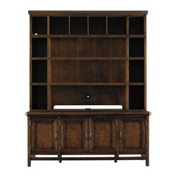 Stanley Furniture - Modern Craftsman-Journeyman's Media Hutch - Life is meant to be lived. And with our Journeyman's Media Hutch and Console, you can keep the memories of your travels in constant and steady reach. With removable partitions that convert to accommodate your needs, the Journeyman's Hutch serves as a library cabinet, time capsule and media center all in one. Use the full width adjustable shelves to showcase your collections, or remove some or all of the vertical sections to accommodate up to a 60 inch flat panel TV. Designed to work with the Journeyman's Console, sold separately. A brilliant choice for any multipurpose room.