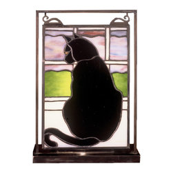Meyda Tiffany - Cat in Window Lighted Mini Tabletop Window Pa - Requires one 60 watts candelabra type bulb. Stained art glass encased in a solid brass frame. Made from handcrafted and copperfoil construction. Shade: 6 in. W x 9 in. H. Overall: 9.5 in. L x 5 in. W x 10.5 in. H. Care InstructionsThrough a multi paned window, an ebony black cat watches the sunset on rolling fields of green. Each window hangs perfectly in it's own brass tabletop display.