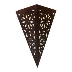Badia Design Inc. - Hand Designed Rustic Iron Wall Sconce - Hand Carved from Wrought Iron