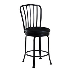 """Linon Home Decor - Linon Home Decor Windsor Back Counter Stool X-U10LTM575430 - Classic in design and style, the Windsor Back Counter Stool is a timeless addition to a home bar, counter or high top table. The decorative Windsor back adds a touch of symmetry to the stool, while the wide round swivel seat adds comfort. Finished in a dark black, the seat has a plush, easy to maintain, black PVC upholstery. Constructed of metal, the stool is sturdy and durable for long lasting use. 24"""" Seat Height. 275 pound weight limit."""