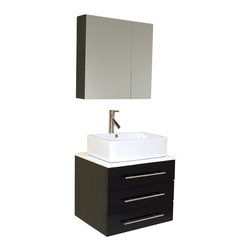 Fresca - Modella Espresso Modern Bathroom Vanity w Medicine Cabinet (Tolerus Chrome) - Choose Included Faucet: Tolerus ChromeSingle Hole Vessel Faucet Mount (Faucet Shown In Picture May No Longer Be Available So Please Check Compatible Faucet List). Soft Closing Drawers. P-trap, Faucet, Pop-Up Drain and Installation Hardware Included. With overflow. Sink Color: White. Finish: Espresso. Sink Dimensions: 18 in. x14.25 in. x4.38 in. . Medicine Cabinet: 23.63 in. W x 23.63 in. H x 6 in. D. Materials: Solid Oak Wood, Ceramic Sink with Overflow, Marble Countertop. Vanity: 23.75 in. W x 19.75 in. D x 25.63 in. HThe Modella is perfect for smaller spaces. Clean lines and simple chrome hardware compliment the combination of espresso, white and chrome. Comes complete with medicine cabinet and marble countertop. This vanity is the same as Modello but with the shorter width of 24""